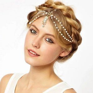 Jewelry - GOLD WHITE ROSARY RHINESTONE HAIR PIECE HEAD CROWN